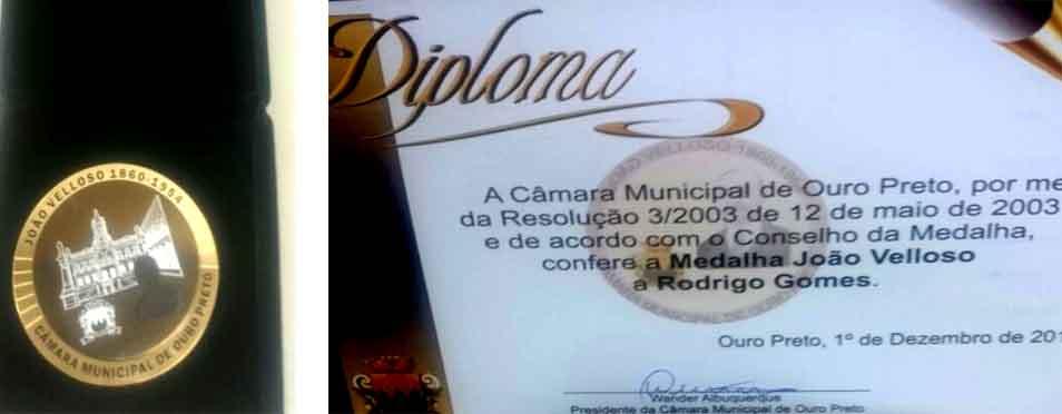 Idealizador do Guia, Rodrigo Gomes, é homenageado pela Câmara Municipal de Ouro Preto com a Medalha João Velloso